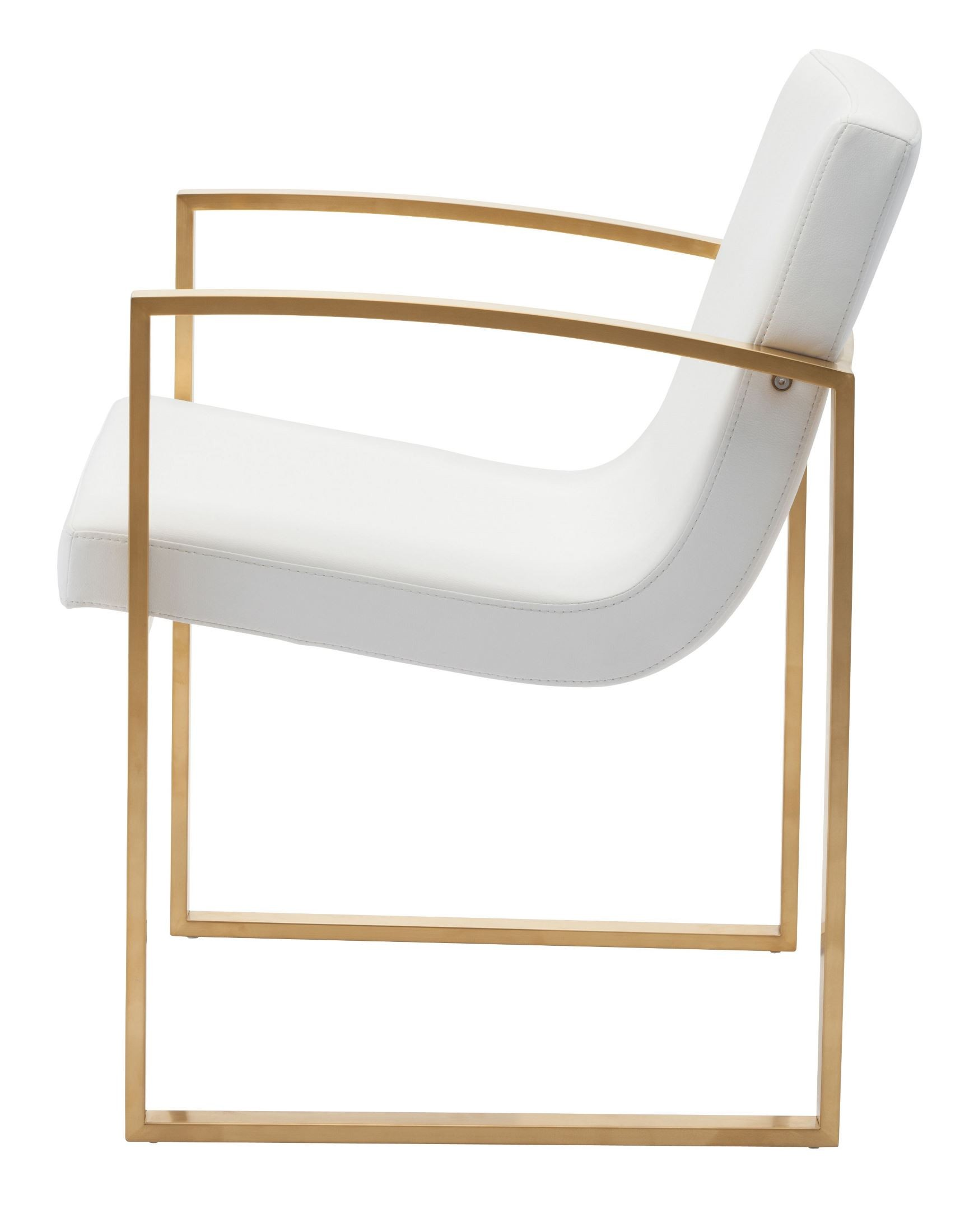 White And Gold Chair Clara White And Gold Naugahyde Dining Chair Hgtb324 Nuevo