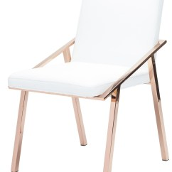 Steel Chair Gold And Ottoman Covers Amazon Nika White Rose Metal Dining From Nuevo