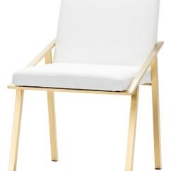 Steel Chair Gold Folding Dimensions Nika White Naugahyde Dining Hgtb421 Nuevo