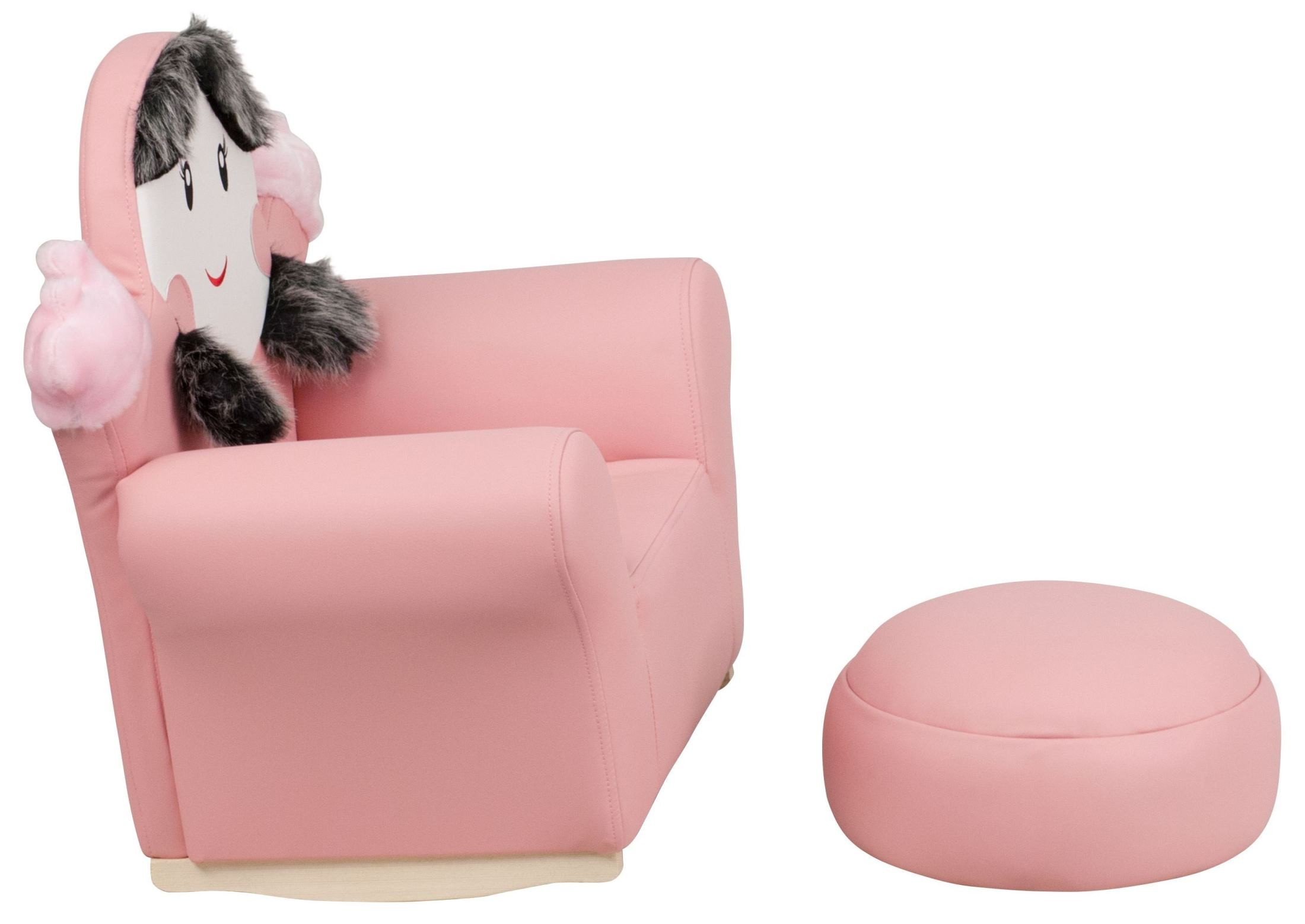 little girl rocking chair recliner chairs fabric upholstery kids pink rocker and footrest from