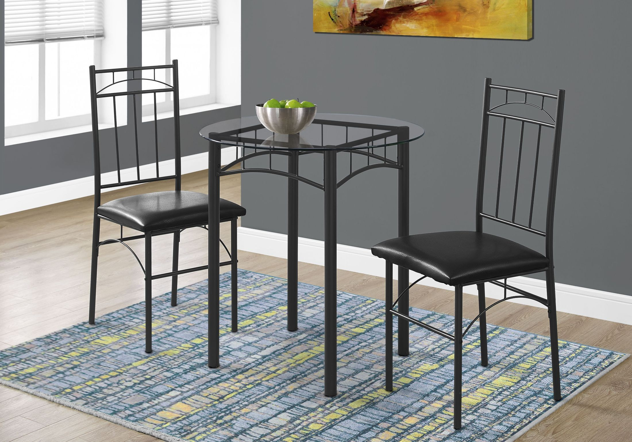 Black Metal and Glass 3 Piece Dining Room Set from Monarch