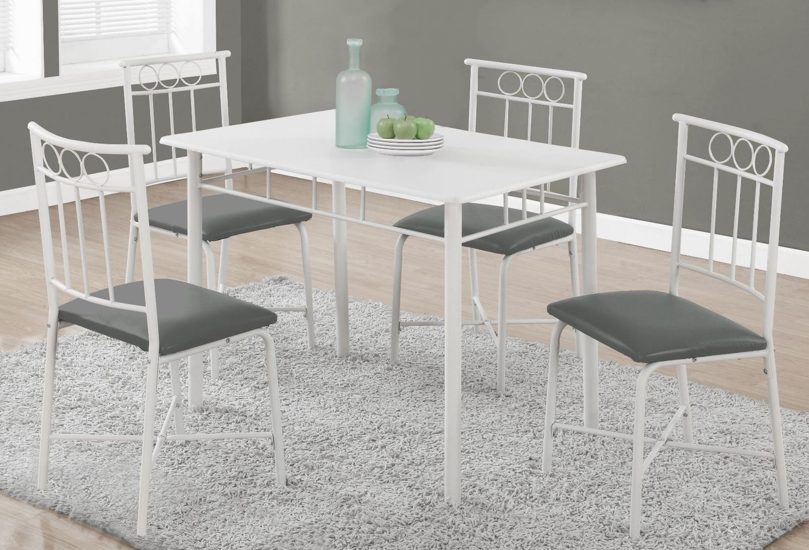 1019 White Metal 5 Piece Dining Room Set 1019 Monarch