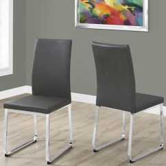 Gray Leather Dining Chairs Revolving Chair Olx Karachi And Chrome Set Of 2 From Monarch