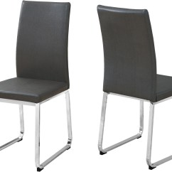 Gray Leather Dining Chairs Gel Chair Cushion And Chrome Set Of 2 From Monarch