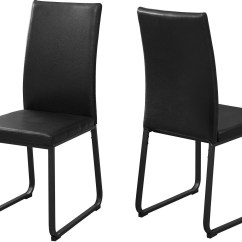 Black Leather Chair Dining Poker Table And Chairs Set Of 2 From Monarch Coleman