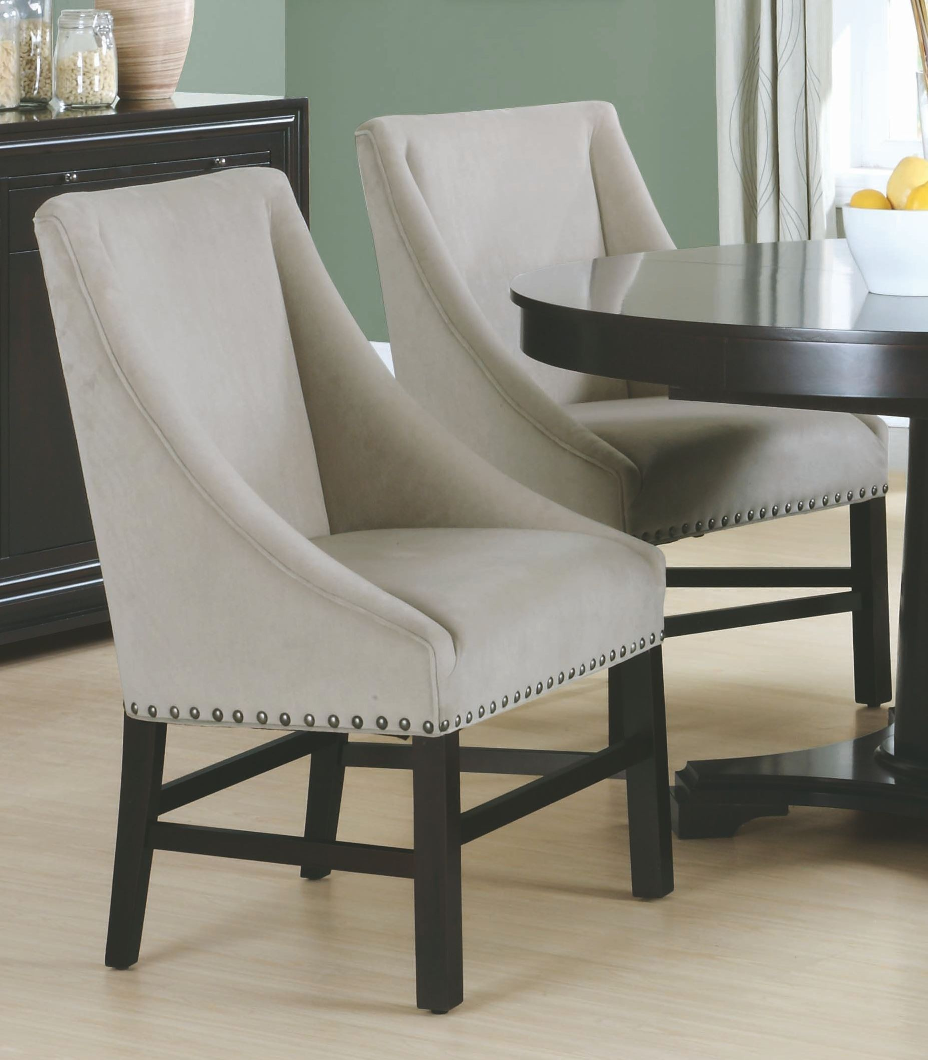 Taupe Dining Chairs Taupe Velvet 38 Quot Dining Chair Set Of 2 1715 Monarch