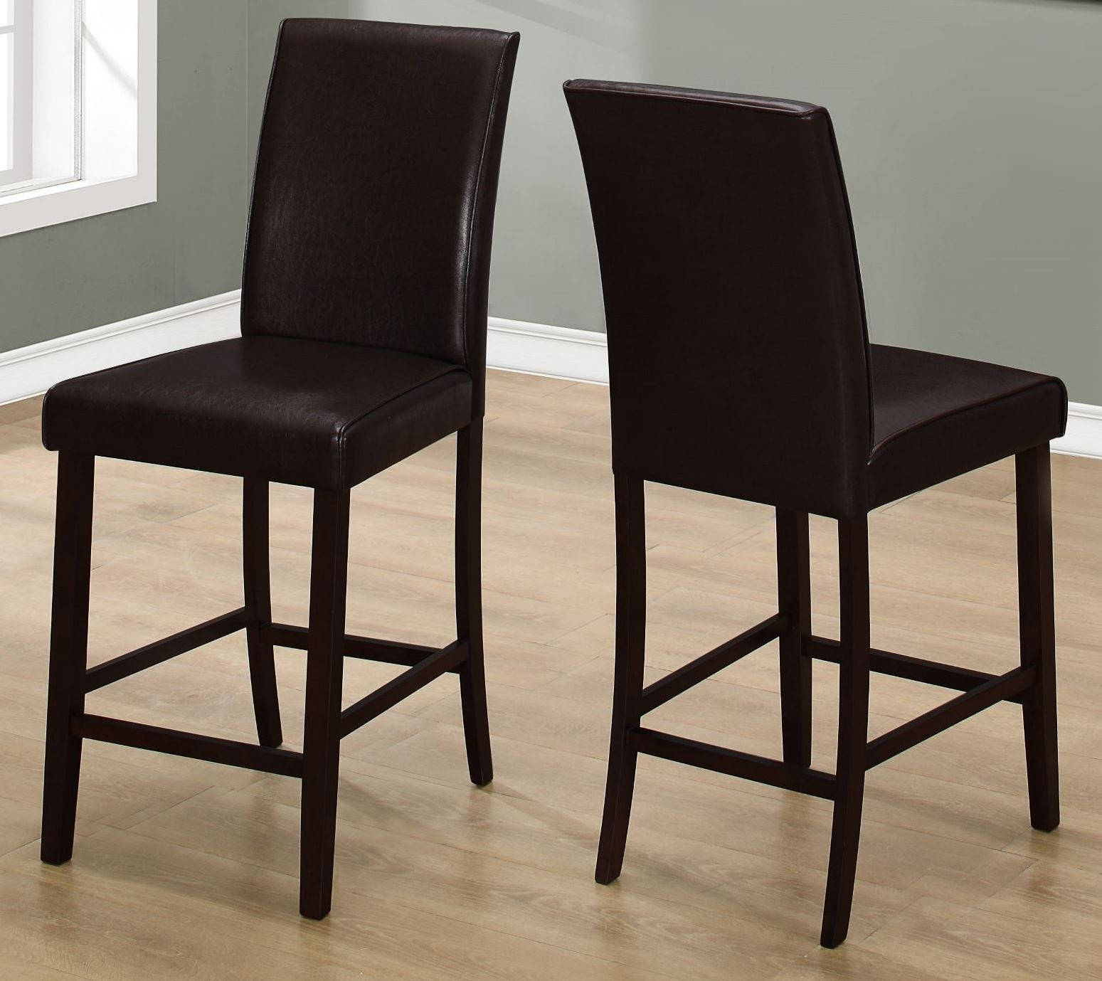 chocolate leather dining chairs chair sling fabric brown counter height set of 2 from