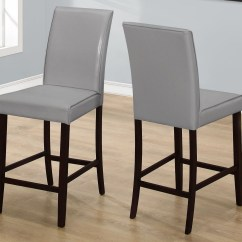 Gray Dining Chair Amazon Covers For Weddings Grey Leather Counter Height Set Of 2 1902