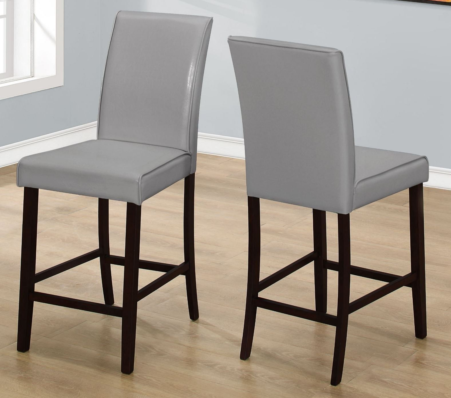 Gray Dining Chair Grey Leather Counter Height Dining Chair Set Of 2 1902
