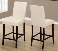 Ivory Leather Counter Height Dining Chair Set of 2 from ...