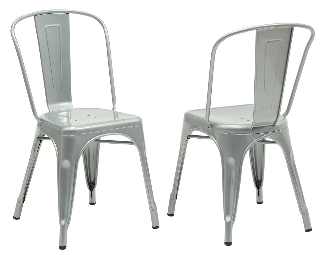 Galvanized Steel Chairs 2412 Silver Galvanized Metal Side Chair Set Of 2 From