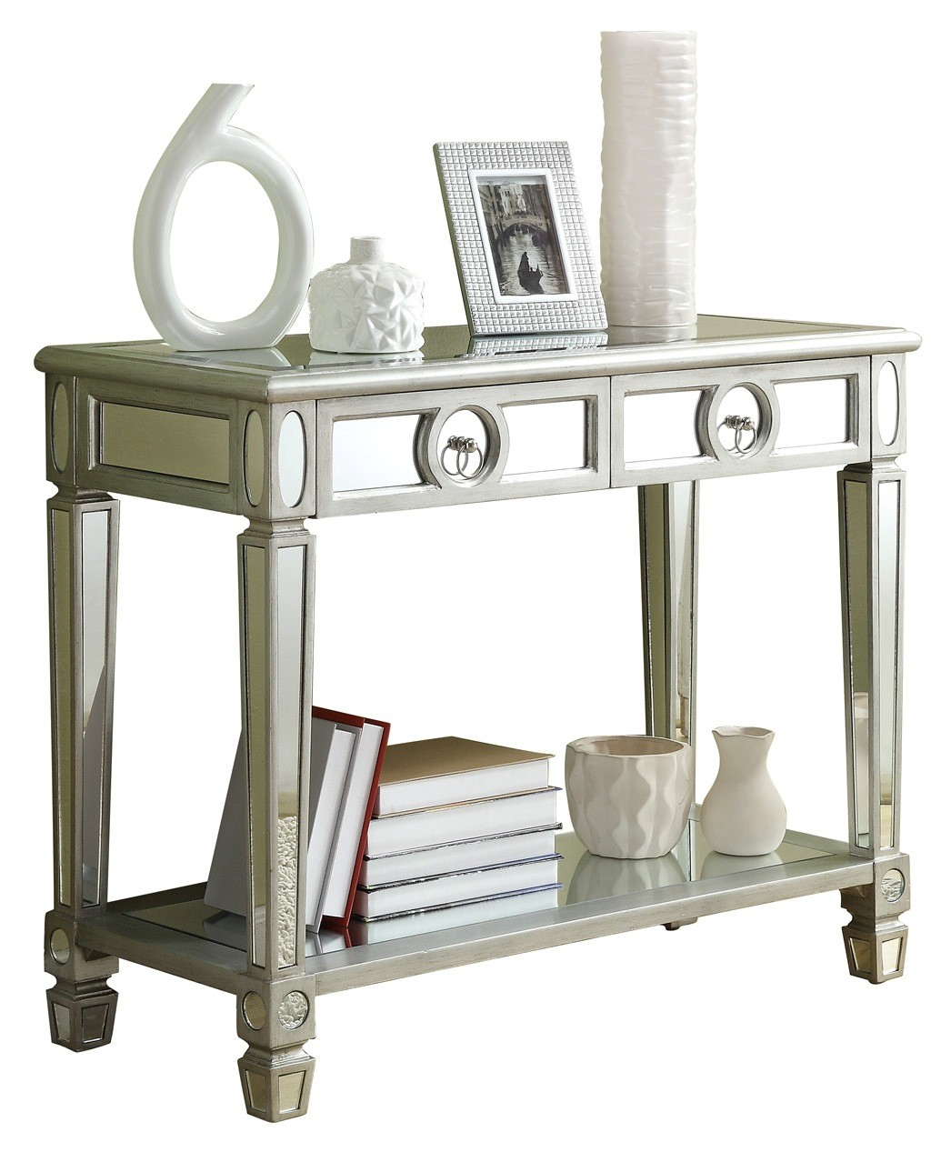 monarch specialties mirrored 38 sofa console table with drawers slide under cup holder 3700 brushed silver quot from