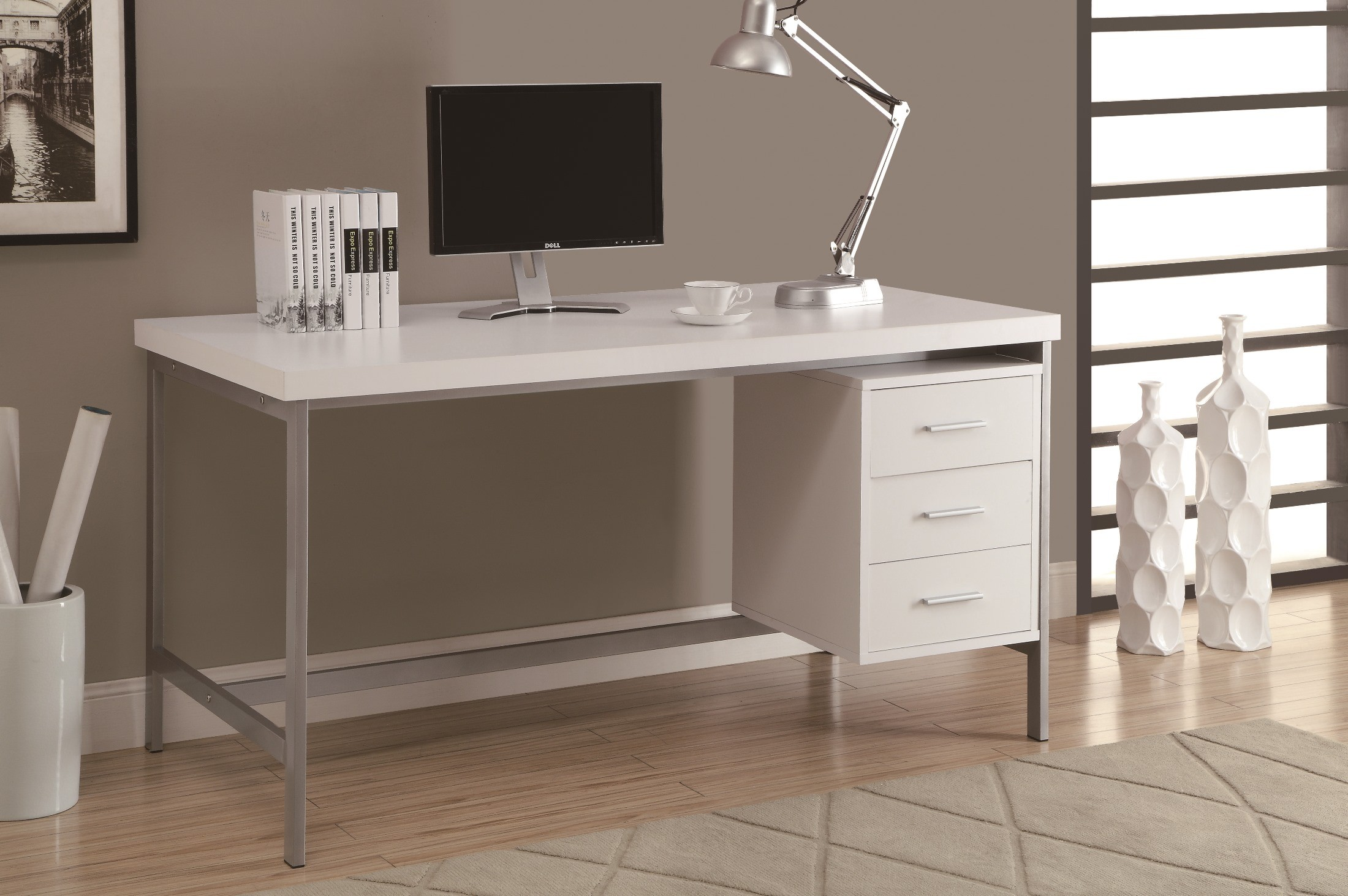 7046 White Silver Metal 60 Office Desk from Monarch I