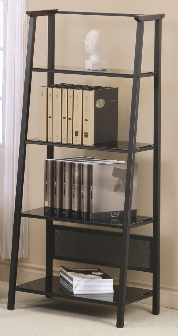 """7179 Dark Walnut Accent Black Metal 67"""" Bookcase"""