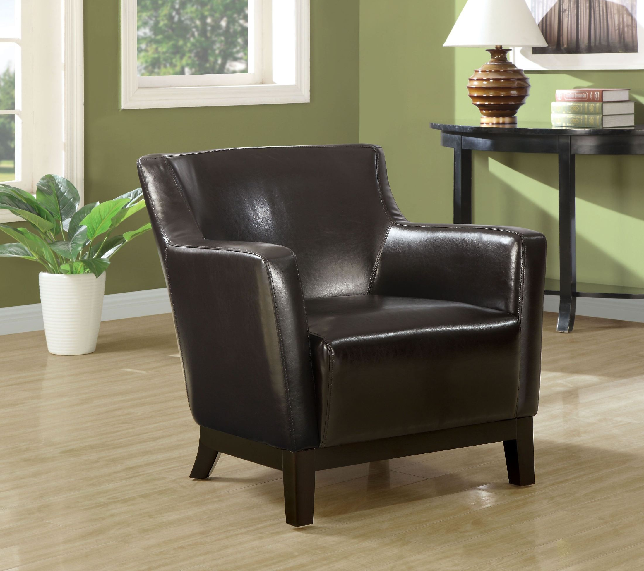 Dark Brown Wood legs Accent Chair from Monarch 8035
