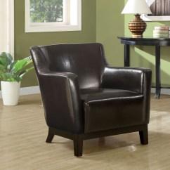 White Leather Accent Chair Canada Tempur Pedic Cushion Dark Brown Wood Legs From Monarch 8035