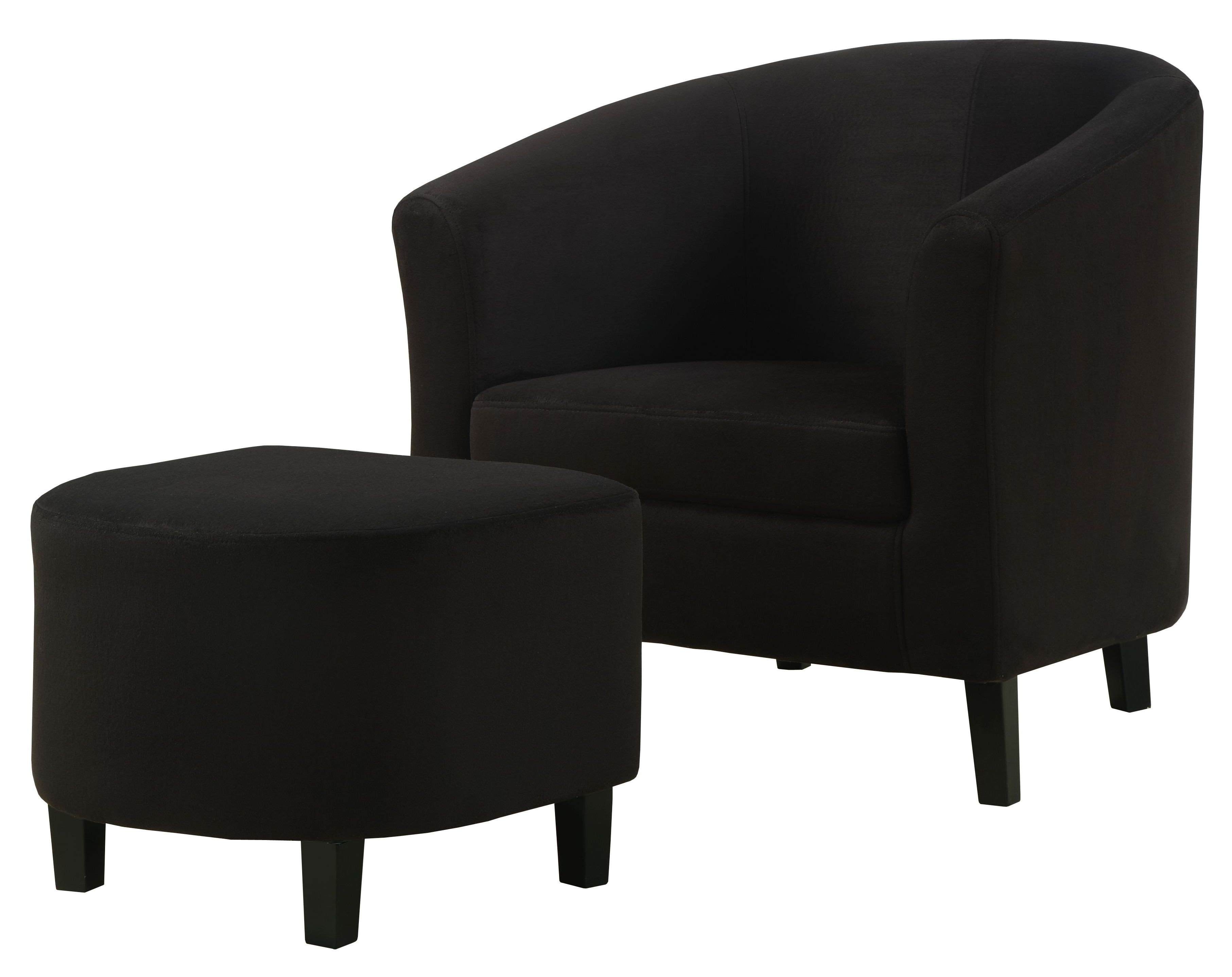 8055 Black Padded Microfiber Accent Chair and Ottoman from