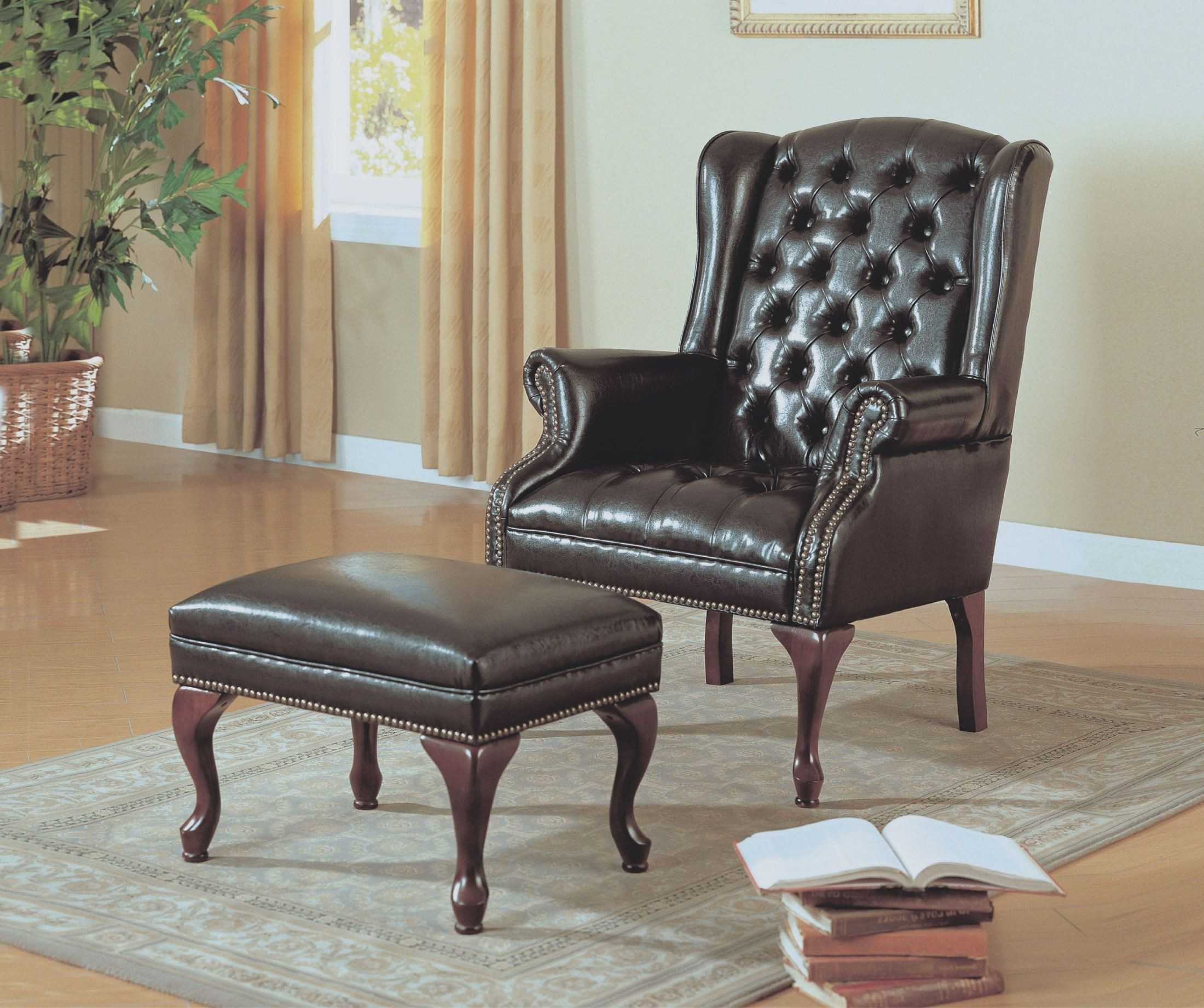 Brown Leather Wingback Chair Dark Brown Leather Look Wing Chair With Ottoman 8090 Monarch