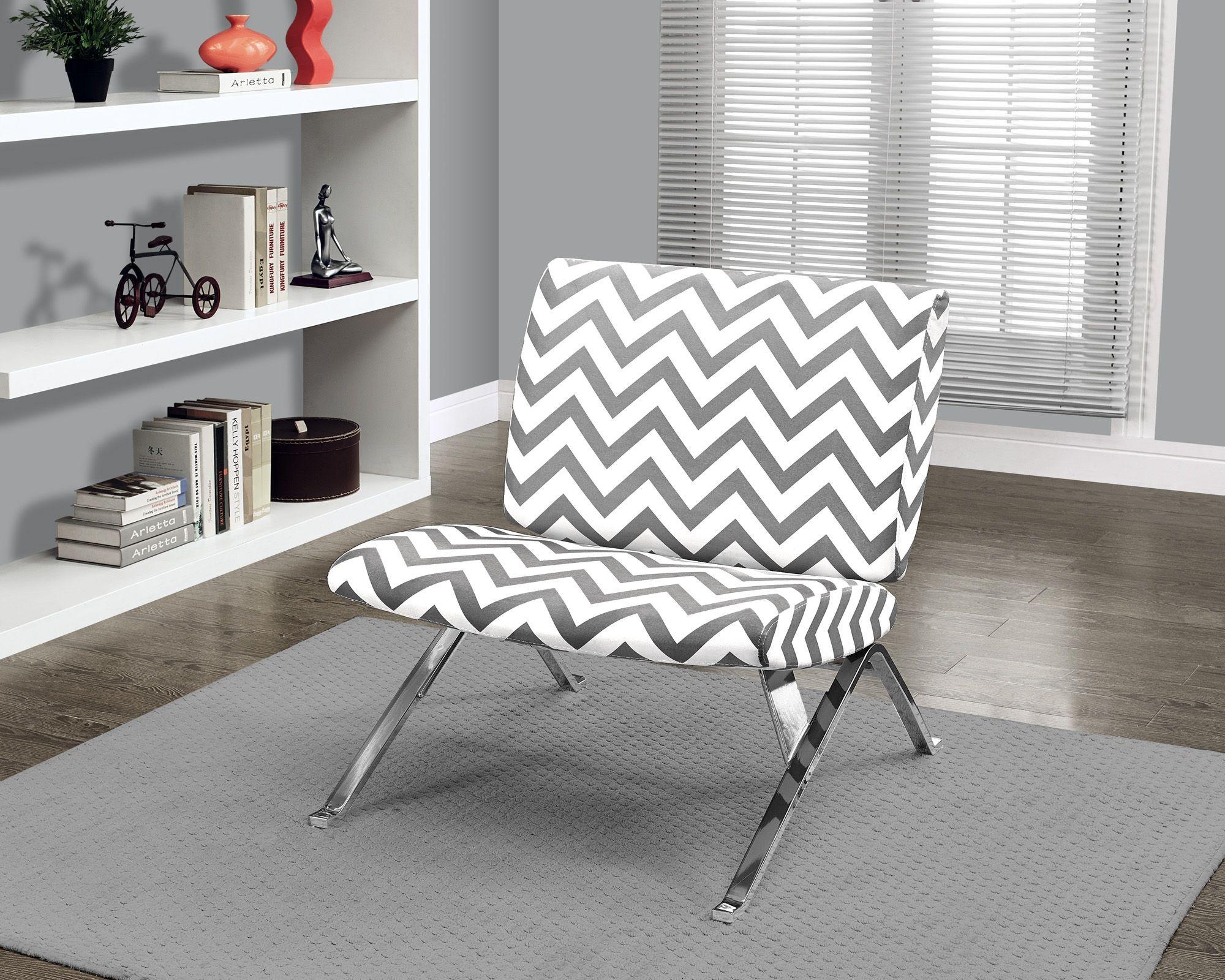 gray chevron chair papasan stool cushions fabric chrome metal accent from monarch