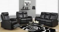 81BK-3 Black Bonded Leather Reclining Living Room Set ...