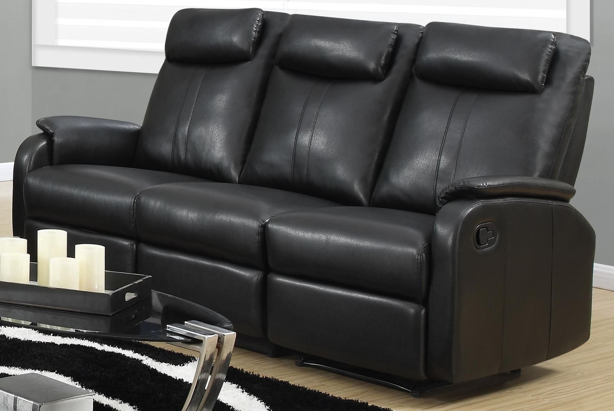 recliner sofa set 3 2 1 leather sectional with pull out bed 81bk-3 black bonded reclining from monarch ...