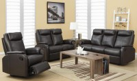 81BR-3 Brown Bonded Leather Reclining Living Room Set from ...