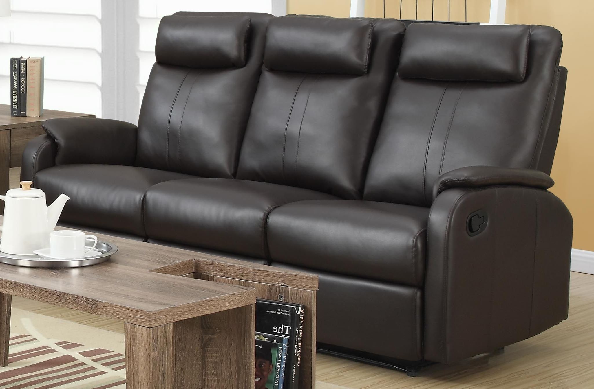 angus bonded leather reclining sofa 4ft 6 bed 81br 3 brown from monarch