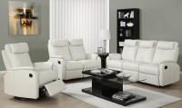81IV-3 Ivory Bonded Leather Reclining Living Room Set ...