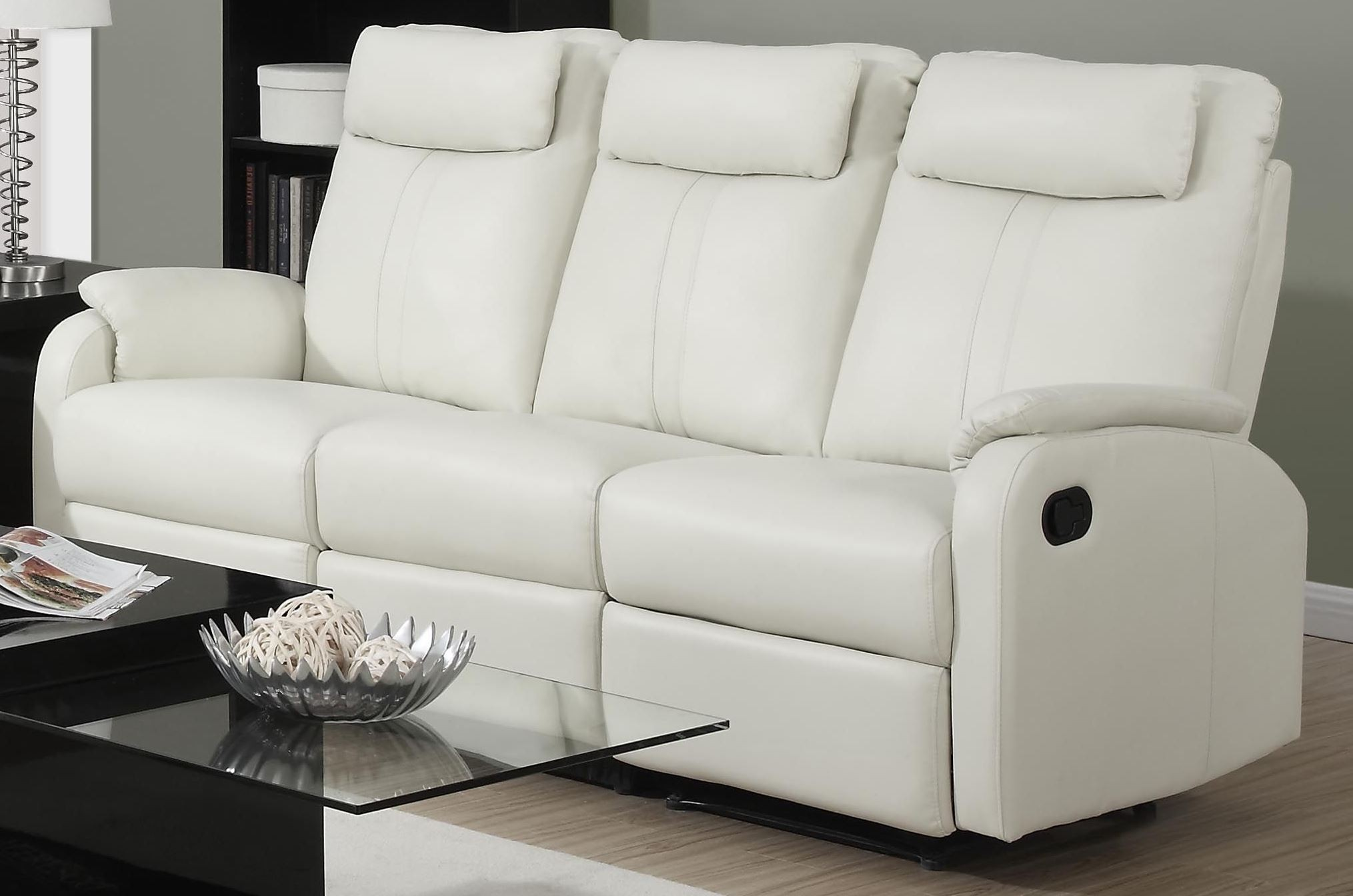 bonded leather reclining sofa set gus sectional with pull out bed and storage 81iv 3 ivory from monarch
