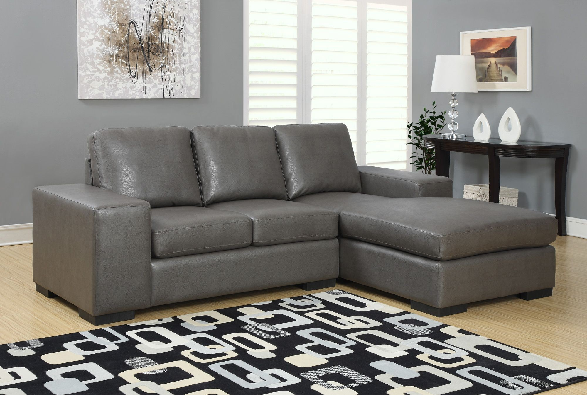 charcoal gray sectional sofa ikea hovas embly bonded leather match from