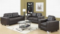 Dark Brown Bonded Leather Living Room Set, 8223BR, Monarch