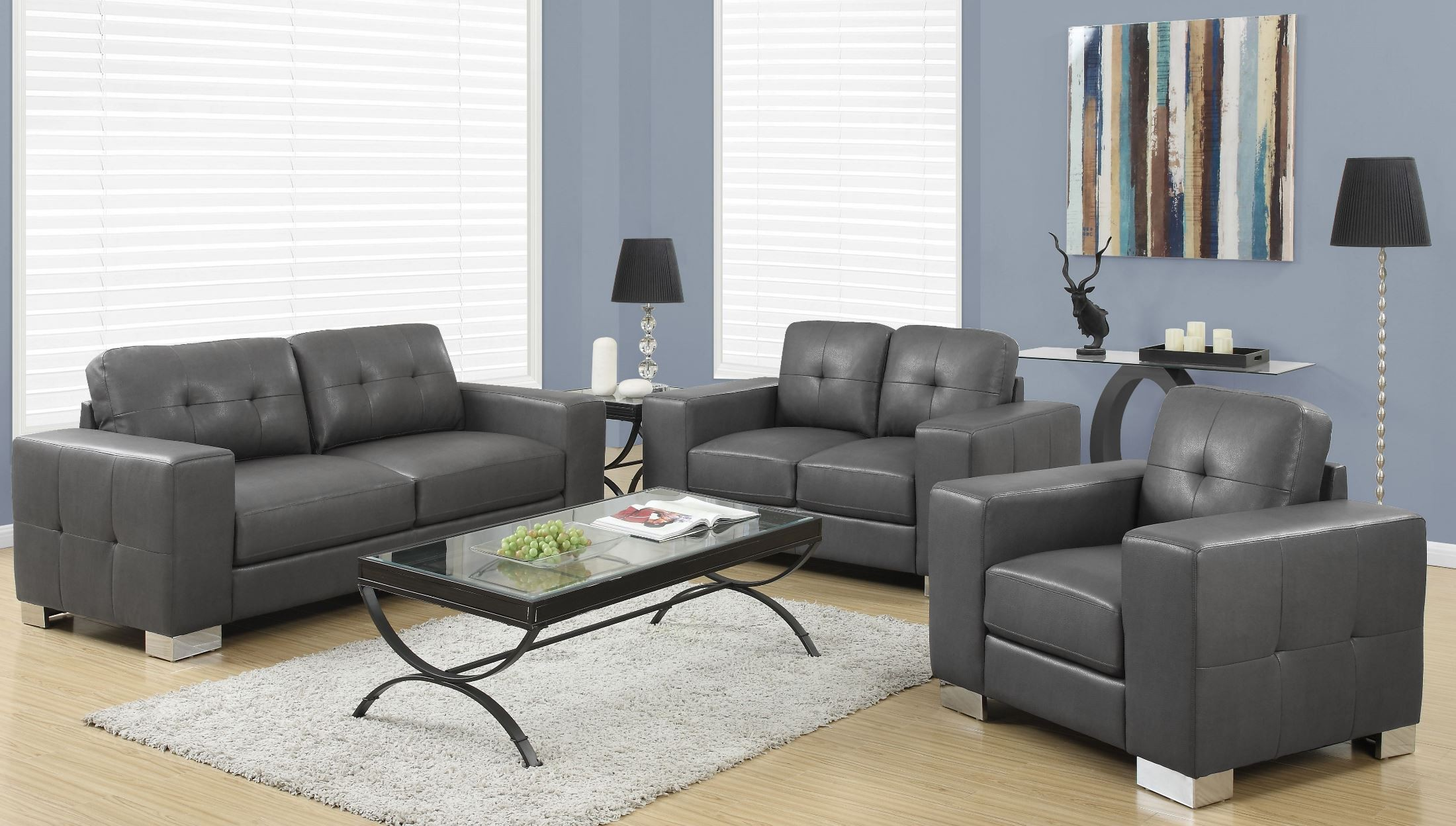 Grey Living Room Chairs 8223gy Charcoal Gray Bonded Leather Living Room Set From