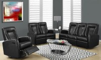 82BK-3 Black Bonded Leather Reclining Living Room Set from ...