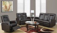 82BR-3 Brown Bonded Leather Reclining Living Room Set from ...