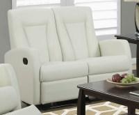 82IV-3 Ivory Bonded Leather Reclining Living Room Set ...