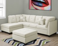 Ivory Bonded Leather Sectional Sofa from Monarch | Coleman ...