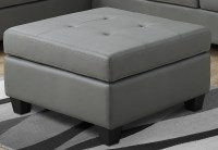 Light Gray Bonded Leather Ottoman from Monarch | Coleman ...