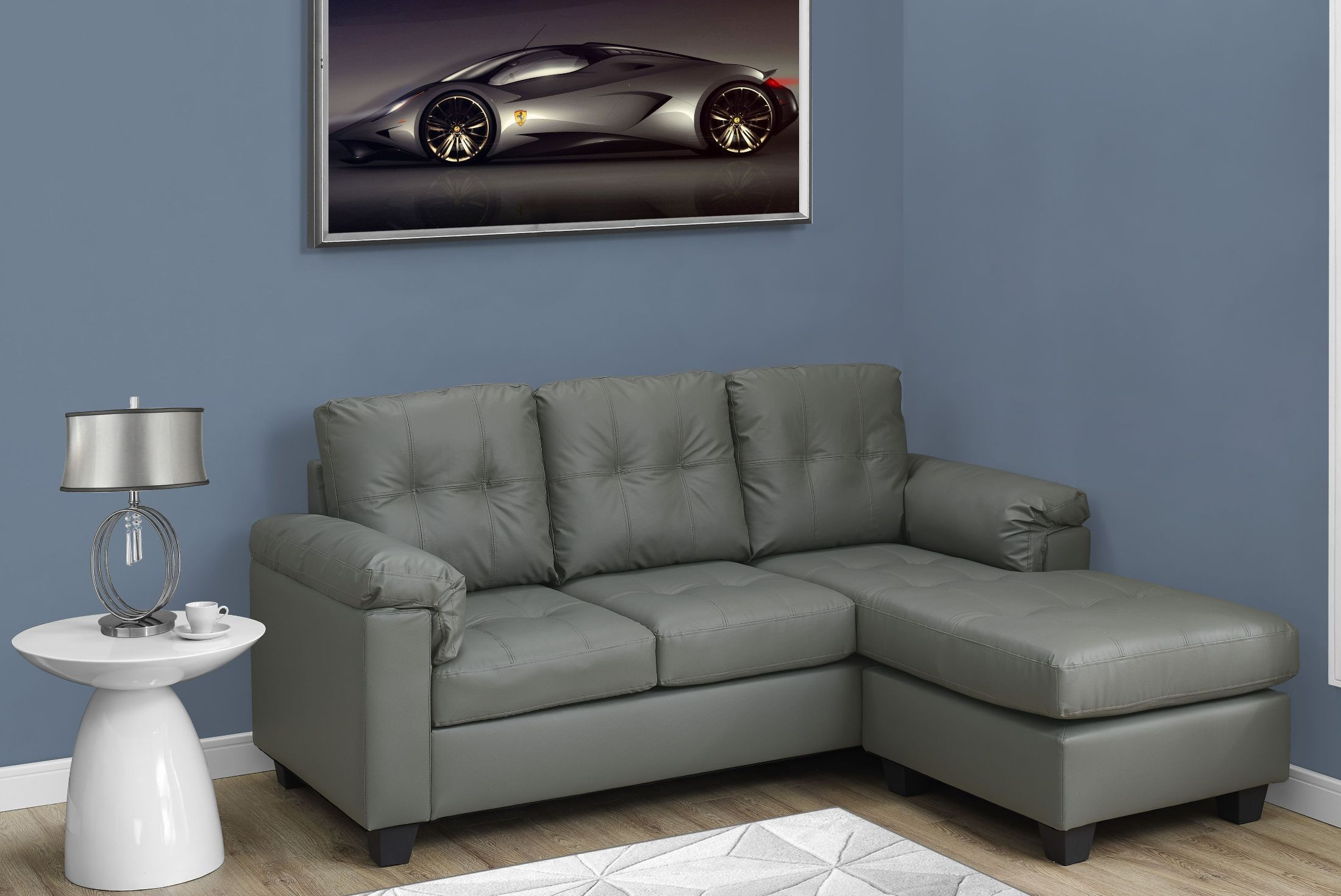 light grey leather sofa latest wooden designs in india gray bonded lounger 8390lg monarch