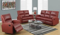 Red Bonded Leather Reclining Living Room Set, 84RD-3, Monarch