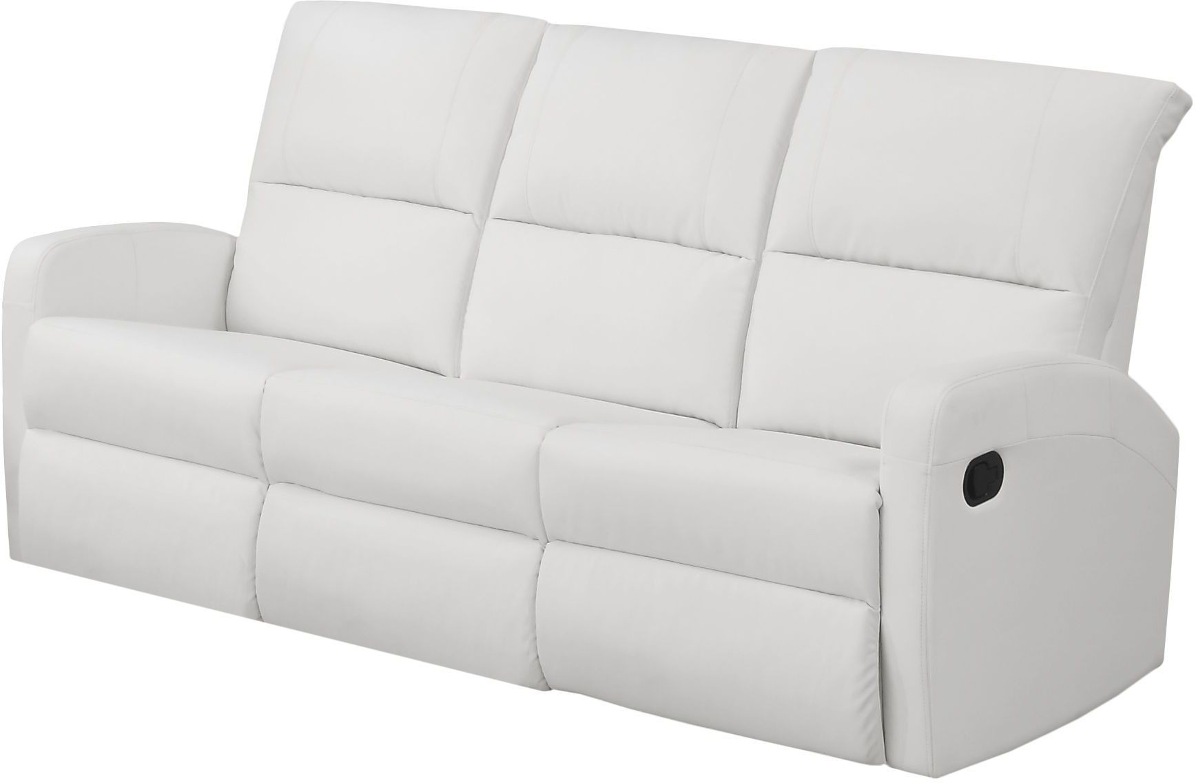 84WH 3 White Bonded Leather Reclining Sofa From Monarch Coleman Furniture