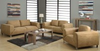 Tan/Chocolate Brown Contrast Micro-Suede Living Room Set ...