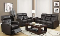 85BR-3 Brown Bonded Leather Reclining Living Room Set from ...