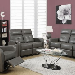 Charcoal Gray Sofa Sets Fake Leather Upholstery 85gy 3 Bonded Reclining Living Room