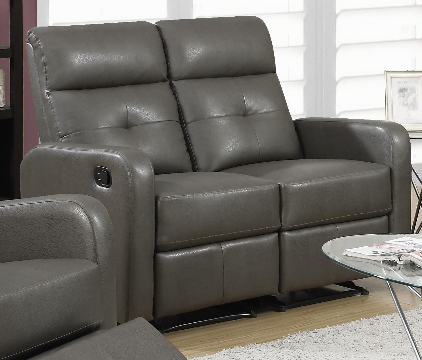 recliner sofa set 3 2 1 deep comfy sectional sofas 85gy charcoal gray bonded leather reclining living room