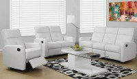 85WH-3 White Bonded Leather Reclining Living Room Set from ...