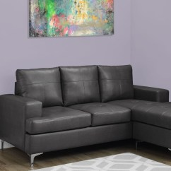 Charcoal Grey Leather Sofa Bobkona Sectional Review Gray Bonded Lounger 8600gy Monarch