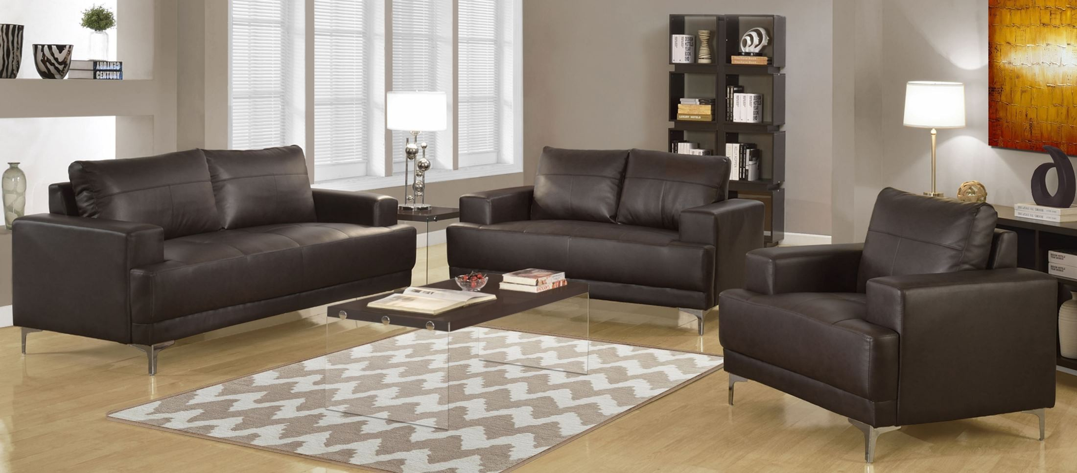 Brown Bonded Leather Living Room Set, 8603BR, Monarch