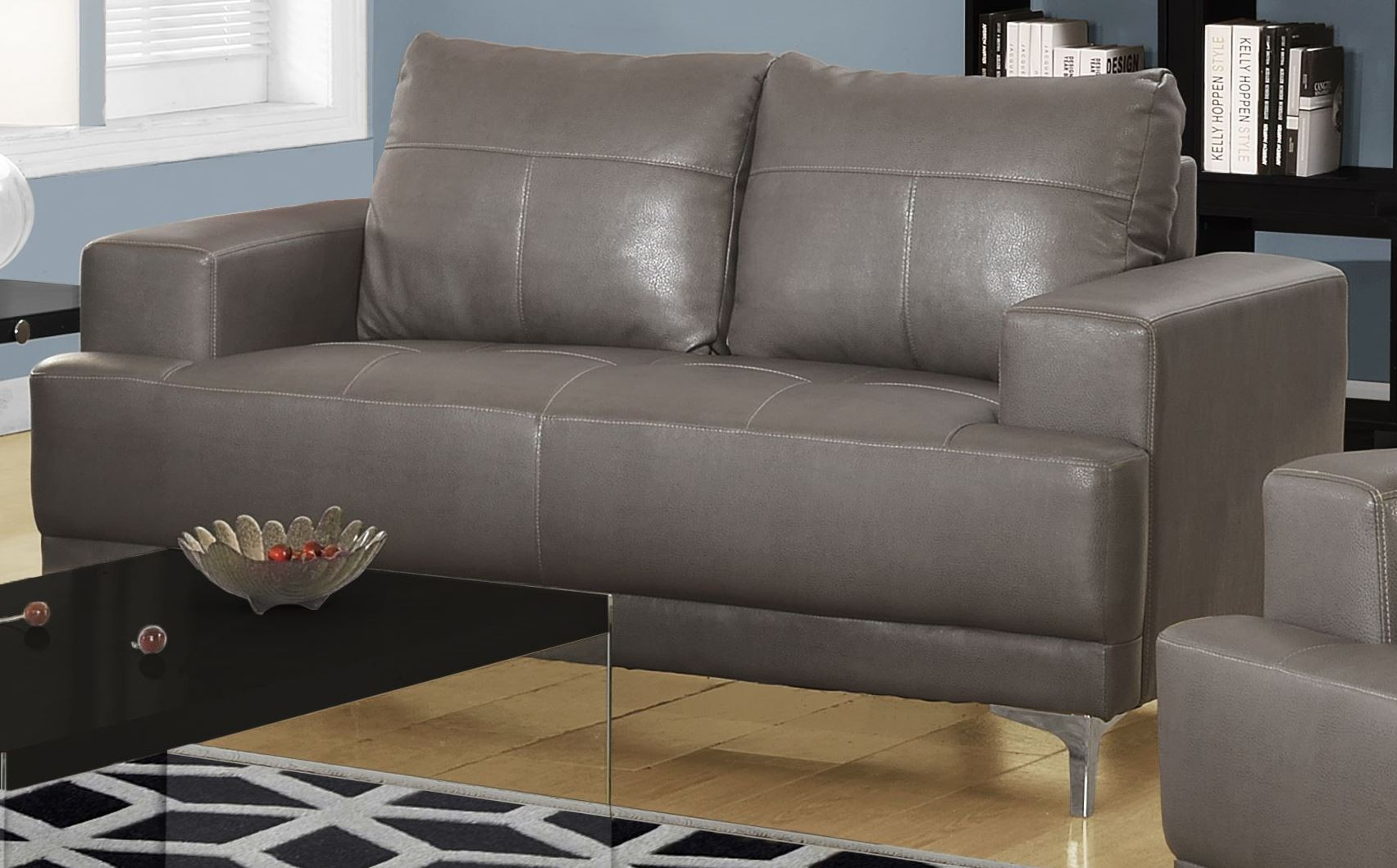 charcoal grey leather sofa best transitional sofas 8603gy gray bonded living room set