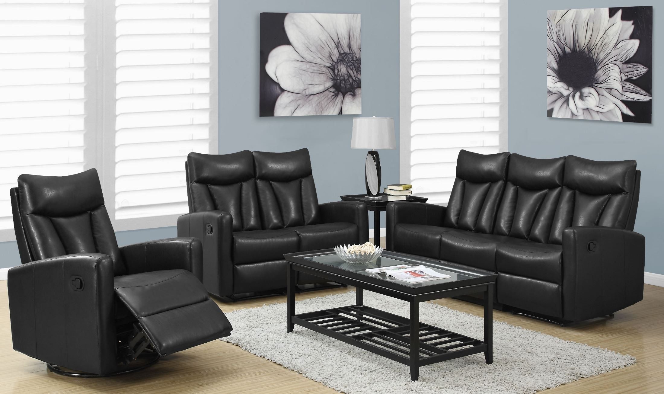 Leather Reclining Living Room Furniture Sets