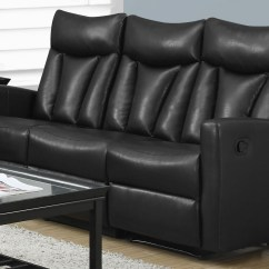 Black Bonded Leather Chair Slipcovers Australia 87bk 3 Reclining Sofa From Monarch